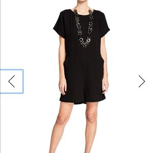 Eileen Fisher NWT Cotton Bateau Romper Black